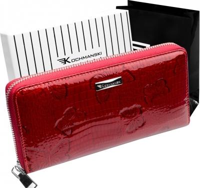 Czerwony portfel Kochmanski Studio Kreacji® ze skóry w stylu glamour