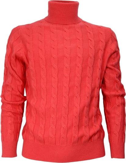 Czerwony sweter Cashmere Company z golfem w stylu casual