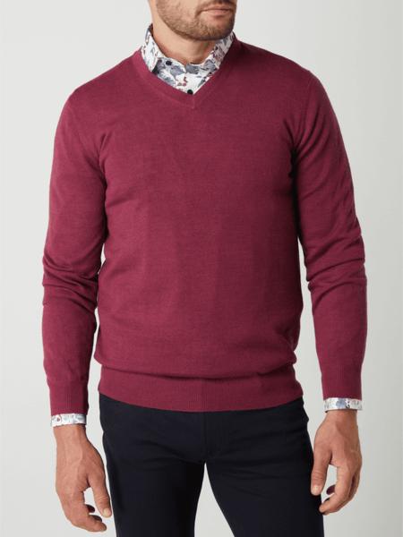 Czerwony sweter Christian Berg Men w stylu casual z wełny