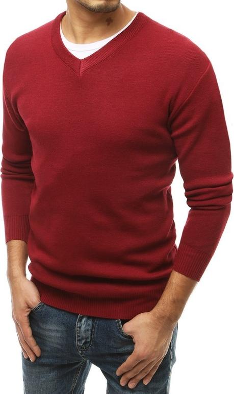 Czerwony sweter Dstreet w stylu casual z dzianiny