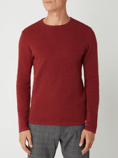 Czerwony sweter McNeal z bawełny z okrągłym dekoltem