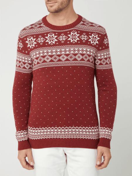 Czerwony sweter Selected Homme z okrągłym dekoltem z bawełny