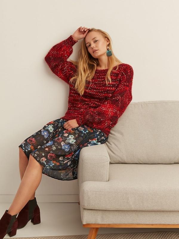 Czerwony sweter Top Secret z dzianiny w stylu casual