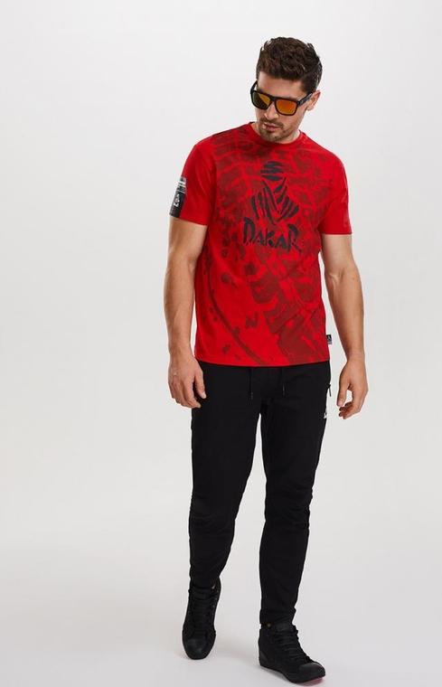 Czerwony t-shirt DiverseExtreme z krótkim rękawem