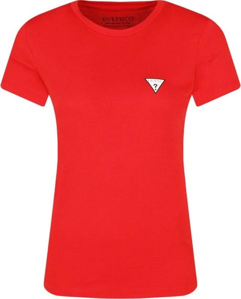 Czerwony t-shirt Guess Jeans z krótkim rękawem z okrągłym dekoltem