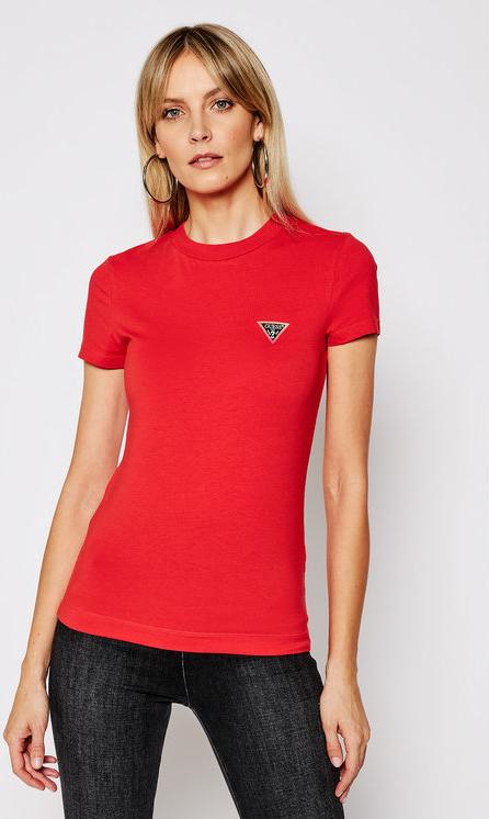 Czerwony t-shirt Guess z krótkim rękawem w stylu casual z okrągłym dekoltem