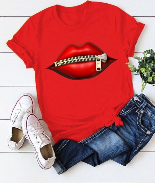 Czerwony t-shirt Kendallme z krótkim rękawem z okrągłym dekoltem