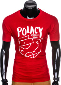Czerwony t-shirt Ombre Clothing z krótkim rękawem