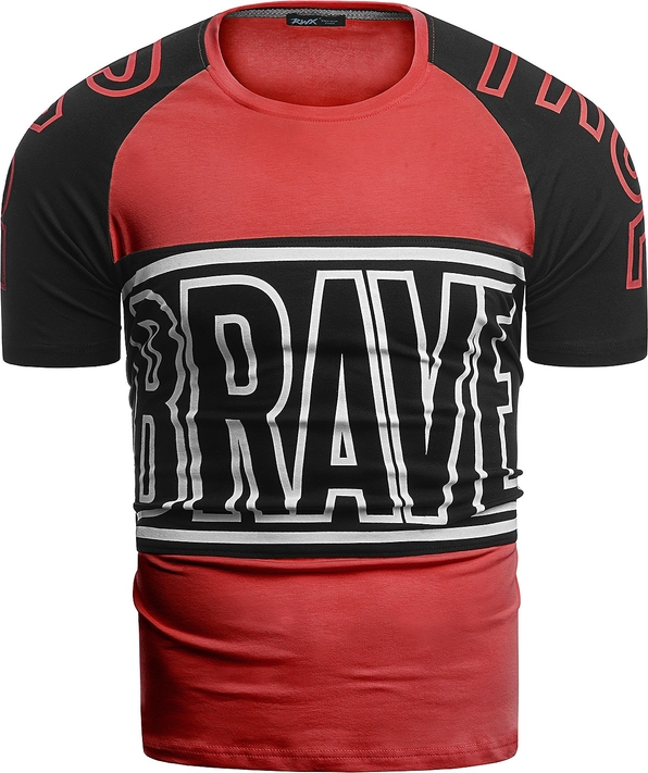 Czerwony t-shirt Risardi z krótkim rękawem w młodzieżowym stylu