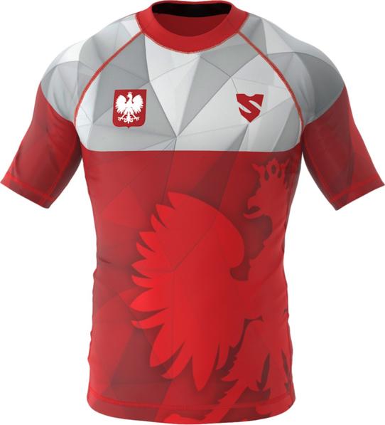 Czerwony t-shirt Smmash z nadrukiem ze skóry ekologicznej