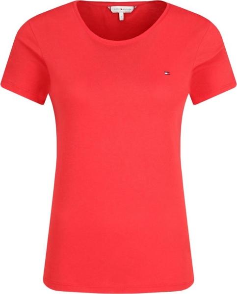 Czerwony t-shirt Tommy Hilfiger z krótkim rękawem z okrągłym dekoltem