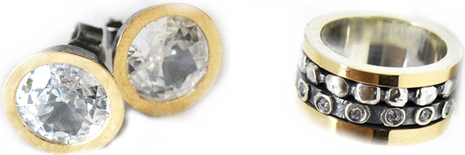 Damska obrączka z podwójnie zdobioną osią z kolczykami w komplecie - Astorga