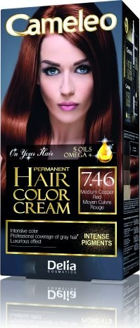 Delia Cosmetics Cameleo HCC farba do każdego typu włosów permanentna omega+ nr 7.46 medium copper red 60 ml