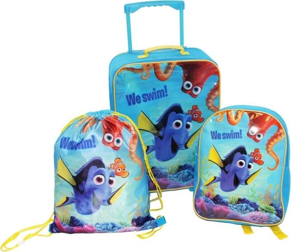 Disney Zestaw: Walizka + plecak + worek 3w1 KSIĘŻNICZKI ZWIERZĘTA DOMOWE NEMO I DORY SET