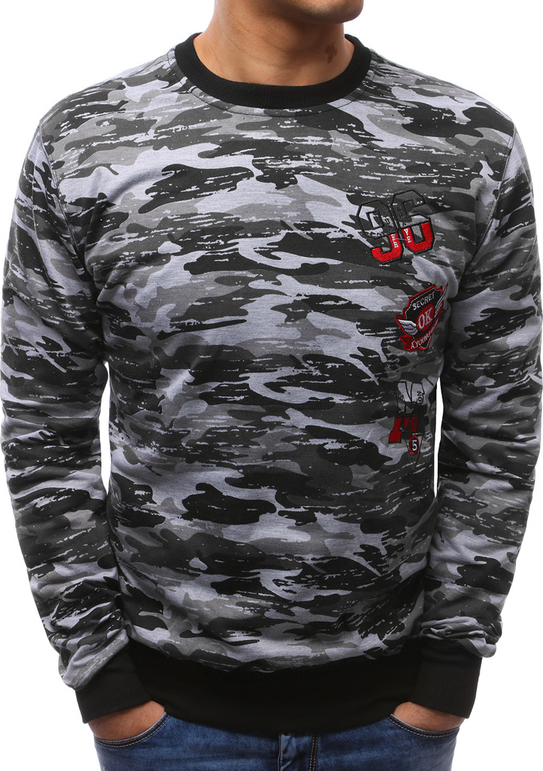 Dstreet bluza męska camo czarno-szare (bx3465)