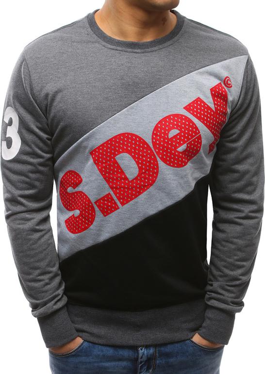 Dstreet bluza męska z nadrukiem antracytowa (bx3455)