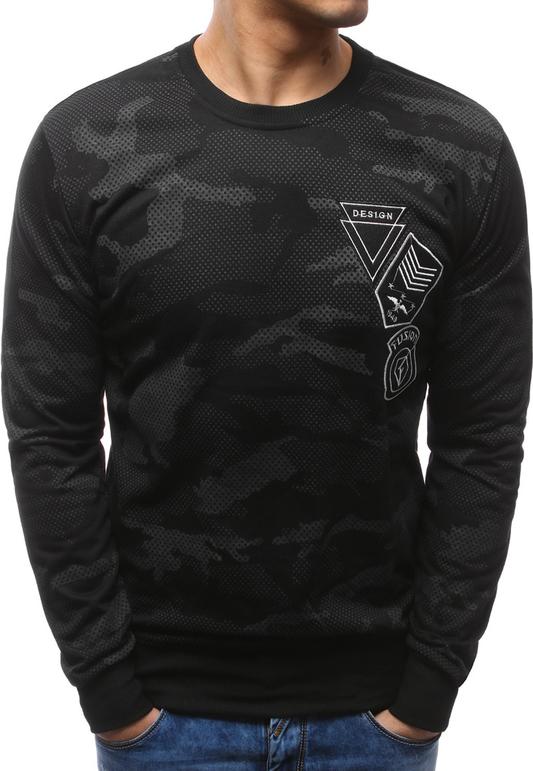 Dstreet bluza męska z nadrukiem camo czarna (bx3468)