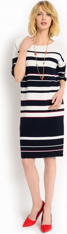 Dzianinowa sukienka w paski potis & verso passi