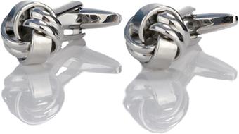 Em Men`s Accessories Spinki do mankietów klasyczne srebrne supełki EM 1