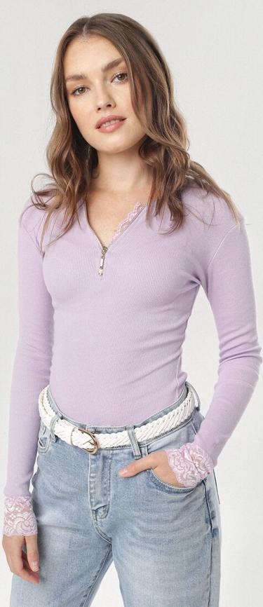 Fioletowa bluzka born2be z długim rękawem