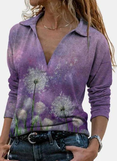 Fioletowa bluzka Cikelly w stylu casual