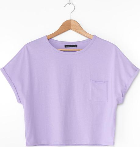 Fioletowa bluzka House z bawełny z krótkim rękawem