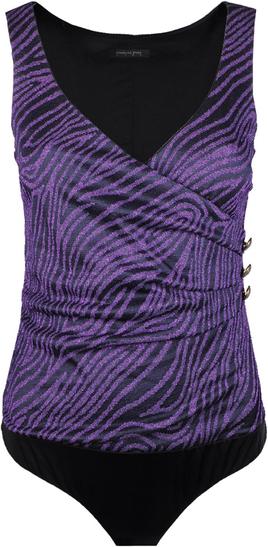 Fioletowa bluzka Patrizia Pepe z dekoltem w kształcie litery v z tkaniny