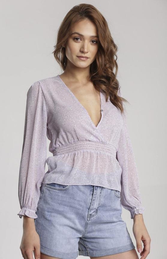 Fioletowa bluzka Renee w stylu casual z dekoltem w kształcie litery v