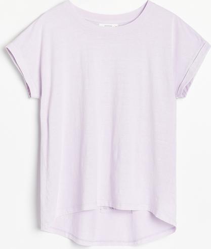 Fioletowa bluzka Reserved z krótkim rękawem w stylu casual z bawełny
