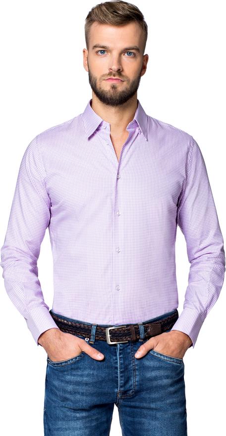 Fioletowa koszula LANCERTO z długim rękawem z klasycznym kołnierzykiem