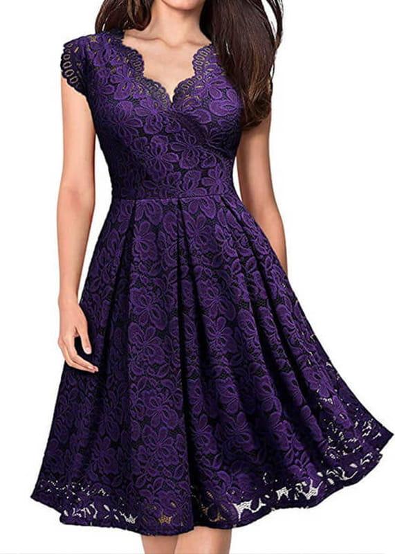 Fioletowa sukienka Arilook mini rozkloszowana