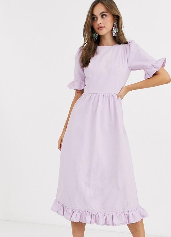 Fioletowa sukienka Asos z krótkim rękawem midi