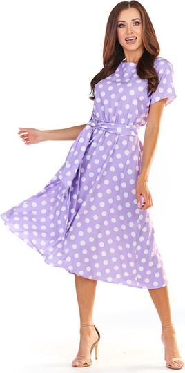 Fioletowa sukienka Awama z krótkim rękawem midi