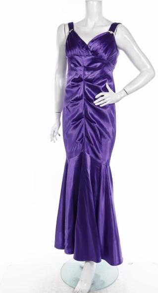 Fioletowa sukienka Blondie z dekoltem w kształcie litery v maxi