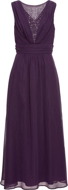 Fioletowa sukienka bonprix BODYFLIRT z dekoltem w kształcie litery v maxi bez rękawów