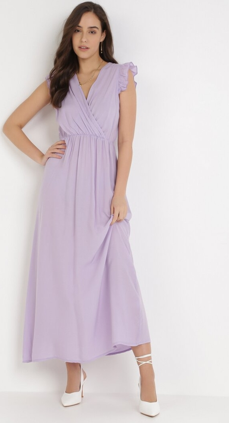 Fioletowa sukienka born2be bez rękawów maxi