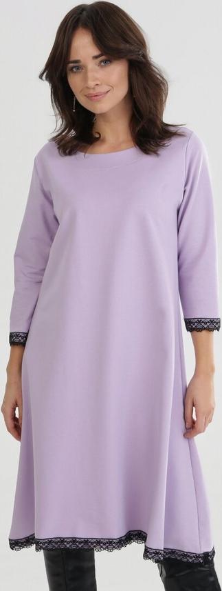 Fioletowa sukienka born2be oversize z długim rękawem