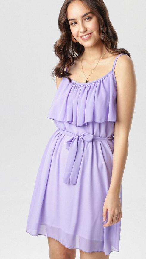 Fioletowa sukienka born2be w stylu casual rozkloszowana mini