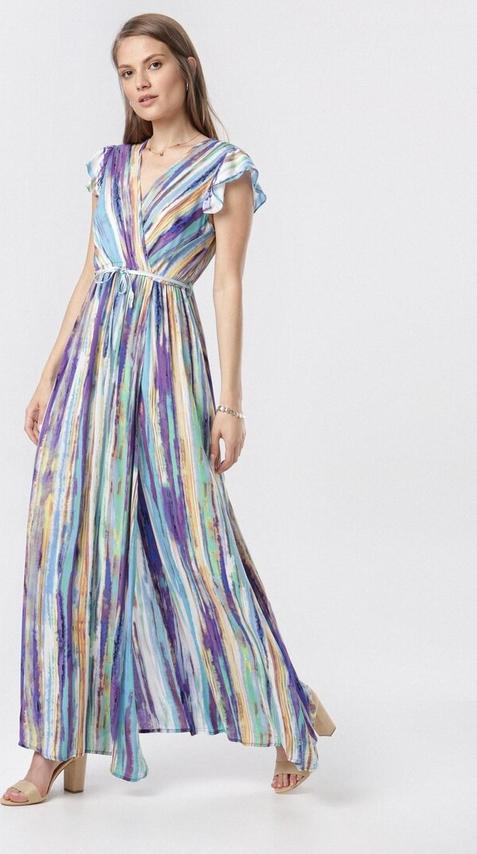 Fioletowa sukienka born2be w stylu casual z dekoltem w kształcie litery v maxi