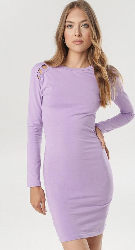 Fioletowa sukienka born2be w stylu casual z długim rękawem mini