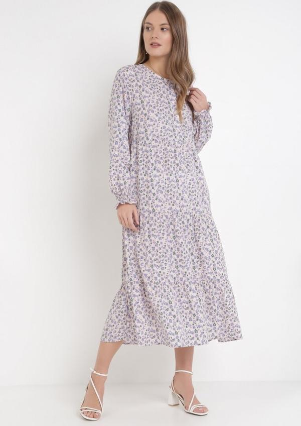 Fioletowa sukienka born2be z długim rękawem z dekoltem w kształcie litery v