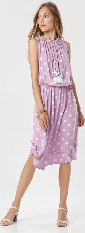Fioletowa sukienka born2be z okrągłym dekoltem bez rękawów