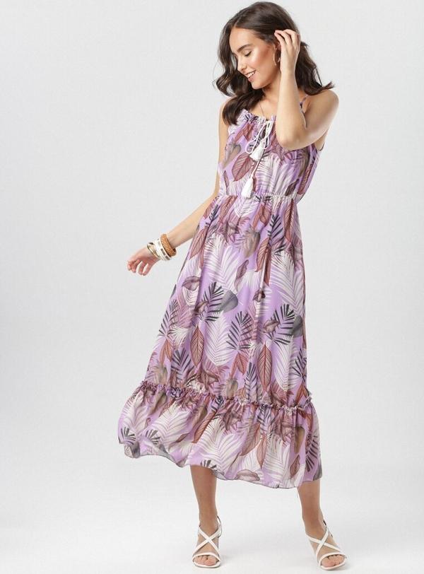 Fioletowa sukienka born2be z okrągłym dekoltem midi rozkloszowana