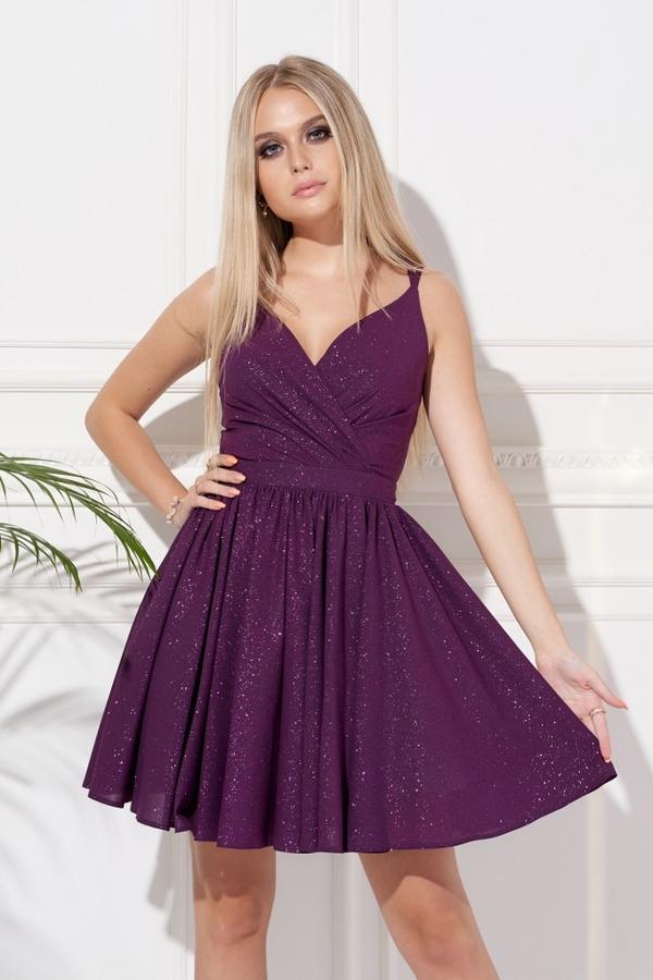 Fioletowa sukienka Ella Boutique na ramiączkach rozkloszowana