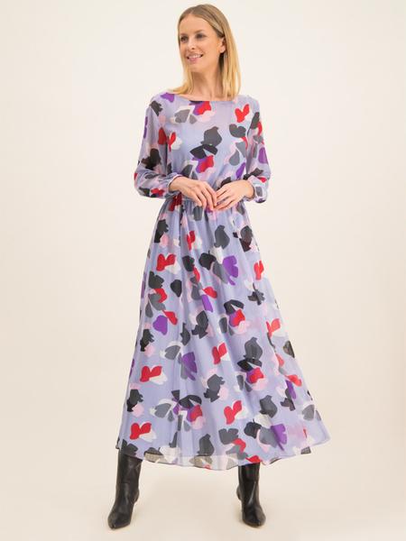Fioletowa sukienka Emporio Armani z długim rękawem z okrągłym dekoltem w stylu boho