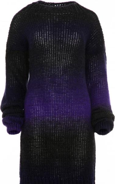 Fioletowa sukienka Fobya z długim rękawem