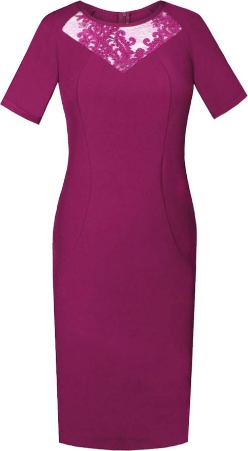 Fioletowa sukienka Fokus dopasowana midi z krótkim rękawem
