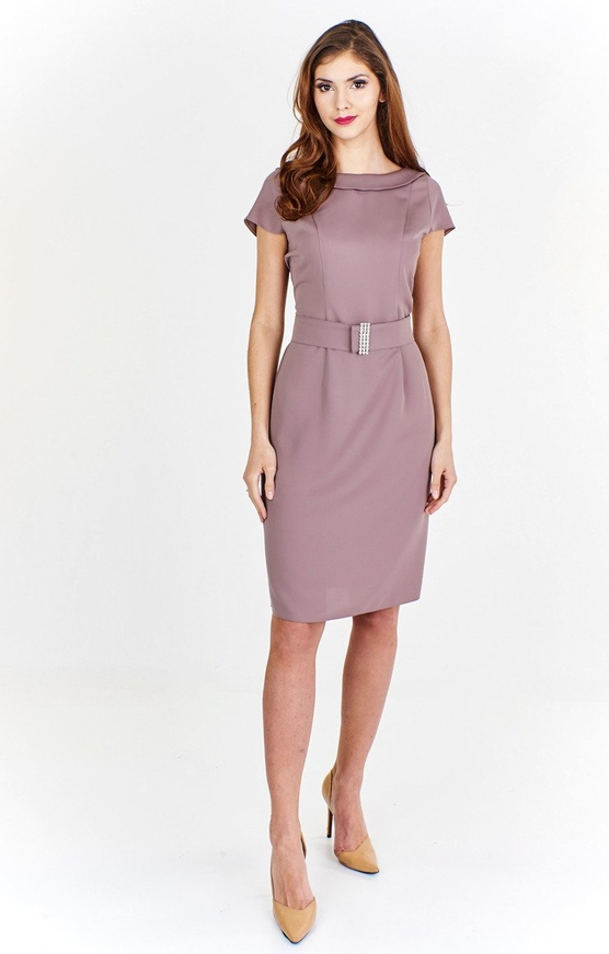 Fioletowa sukienka Fokus w stylu klasycznym z krótkim rękawem ołówkowa