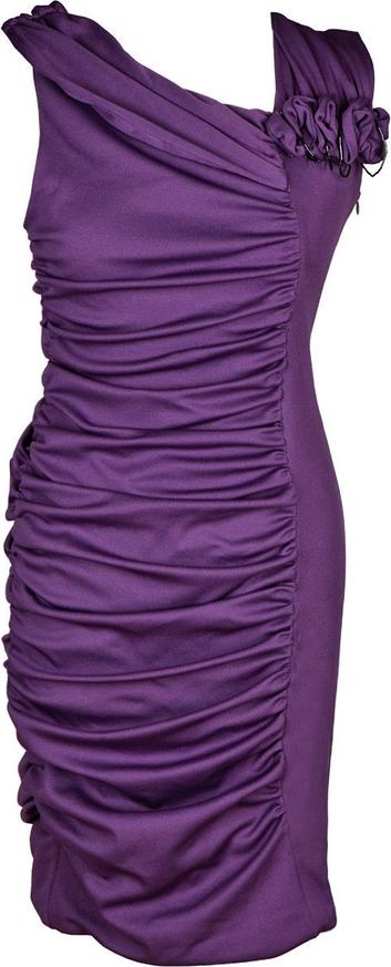 Fioletowa sukienka Fokus z dzianiny asymetryczna z dekoltem w kształcie litery v