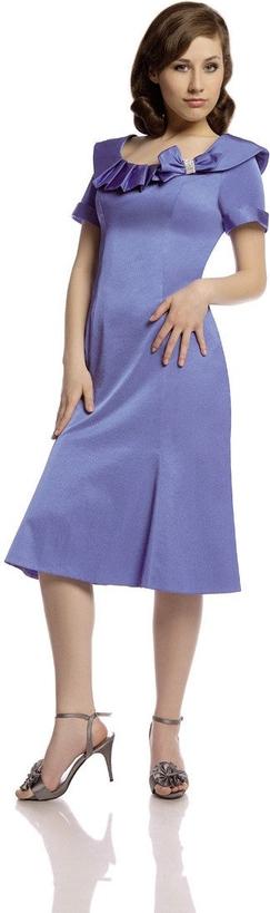 Fioletowa sukienka Fokus z krótkim rękawem dla puszystych